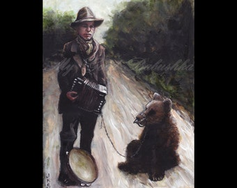 The Accordion Player and His Trained Bear, Original Painting, Traveling Musicians, Accordion, Music, Bear, Road, Circus, Entertainers