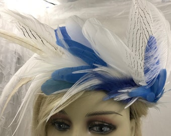 Delicate White and Blue Feather Crown, Wedding Feather Crown, Woodland Fairy Crown, Fairy Wreath, Festival Crown, Burning Man Head Piece