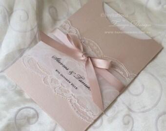 LACE Wedding Invitation. Wedding invites with lace. Girl baptism invites. CUSTOM vintage lace invitation. Christening invitations Blush pink