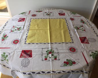 Vintage Square Tablecloth 1950s Vintage Home Decor Vintage Linen Vintage Kitchen