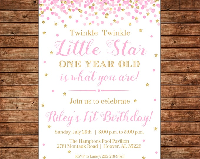 Girl Invitation Pink Gold Glitter Twinkle Star Birthday Party - Can personalize colors /wording - Printable File or Printed Cards