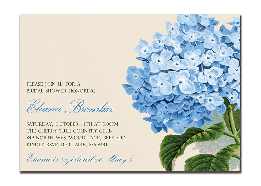 Vintage hydrangea bridal shower invitation baby shower zoom filmwisefo Image collections