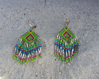 "Earrings woven beaded ""Azteca"""