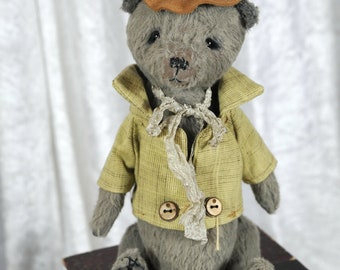 Teddy bear, Artist Bear, OOAK, viscose, Handmade bear, OOAK, shabby, vintage toy, collectible stuffed animal, Aubin