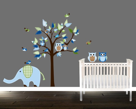 jungen eule wandtattoo blaue kindergarten abziehbilder baum. Black Bedroom Furniture Sets. Home Design Ideas