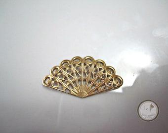 Raw Brass Filigree Fan Brass Filigree Fan Findings Raw Brass Fan Stamping Brass Filigree Fan Jewelry Supplies 31x15mm (1 pc) 39V7