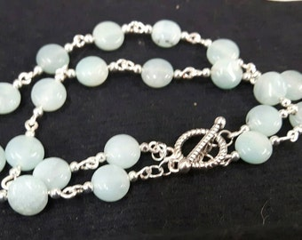 Sea blue agate double strand bracelet