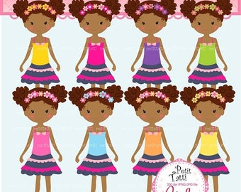 ON SALE African American Girls Clipart _ Afro Puffs Girl Clipart.Classroom Clip Art,Summer Girl Clip Art,small commercial use