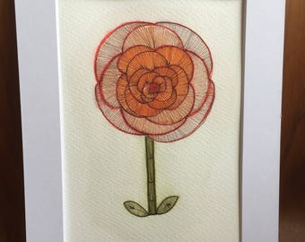 Flower with stem original painting