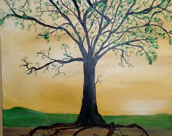 Very large tree of life showing family as your roots oil on wrapped canvas yellow and greens 24x36