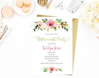 Retirement Party Invitation, Floral Retirement Party Invitation, Retirement Invitation Printable, Peach Retirement Invitation