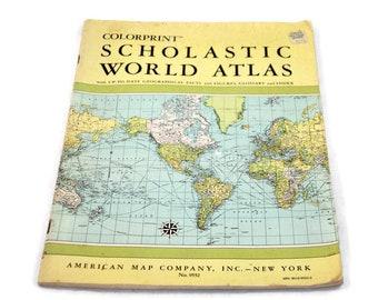 World atlas etsy vintage 1967 colorprint scholastic world atlas maps for papercrafts gumiabroncs Choice Image