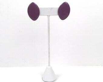 Vintage 1980s Purple Oval Pierced Earrings