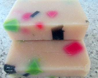Cold process soap berry confetti bath and beauty natural soap moisturizing cleansing colorful soap skin softening soap bar soap scented soap
