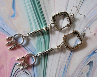 Industrial Chic Silver Boho Earrings (4396)