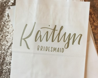Personalized Gift Bag, Name and Wedding Date, Bridal Party, Gold, White, Hand-lettered, Customized, Bridesmaid Gift, Groomsmen