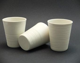 Moder porcelain tumbler, contemporary ceramics mug, modern mug, white ripped porcelain mug, ripped mug, coffee mug