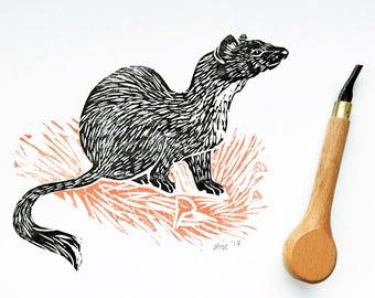 Original illustration ermine-handmade stamp printing