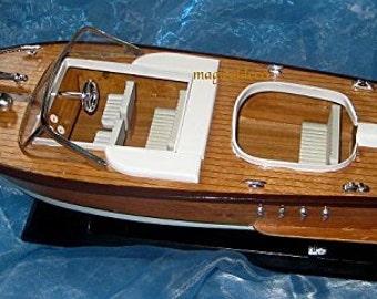 Wooden boat model boat motor boat Italy - Wooden ship model boat Italy 50 cm / 19.7 inches