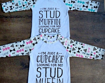 Cupcake looking for my Stud Muffin  Girl PINK Shirt Raglan