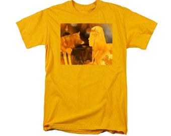 Native American Woman With Wolf T-shirt, Southwestern Golden Yellow, Feminine Shirt, Tribal Women Art, Wearable Artwork