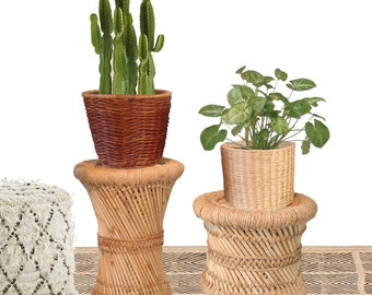 Pair Boho Woven Plant Baskets Planter Pots Wicker Rattan Baskets Plant Holder Set of 2 Bohemian Natural Jungalow Decor/ Light & Dark