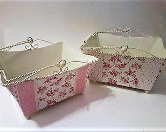 TWO enamel metal baskets, storage bins, Pretty pink flowers printed Baskets, Bathroom decor, Vanity storage baskets, Costume jewelry bins