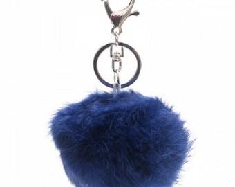 Fur keychain/bag hanger blue