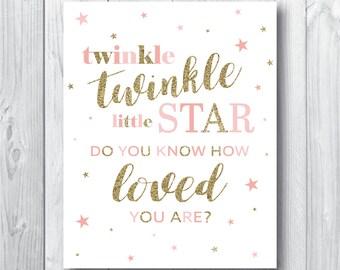 Twinkle Twinkle Little Star Baby Shower Decorations - Blush Pink Gold Glitter Printable Baby Girl Nursery Wall Art - Twinkle Twinkle Print
