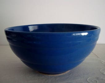 Vintage STONEWARE BLUE BOWL with Ribbed Rim: Large Cobalt Oven Ware Mixing Bowl