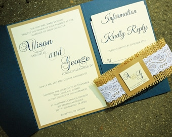 Wedding Inviation, Rustic Wedding Invitation, Burlap Wedding, Barn Wedding, Burlap and Lace Wedding, Country Wedding Invitation