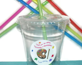 Art Party Cups, Art Cups, Kids Birthday Party Cups, 20 Cups, Art Palette Kids Party Cups, Straws and Lids, 12 Ounce Cups