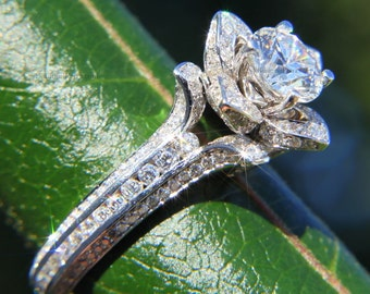 Gorgeous UNIQUE Flower Rose Diamond Engagement Ring - 14K white gold - wedding - brides - custom made - art deco - fL01