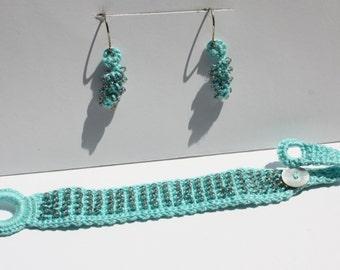 Aqua Beaded Crochet Bracelet and Earrings, Crochet Jewelry Set, Fiber Art, Gift for Her, Teacher gift in Aqua with Iridescent Beads
