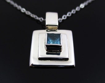 Sterling Silver Necklace, Silver and blue necklace, Blue Necklace, Silver square necklace, Rectangle necklace, Geometric necklace