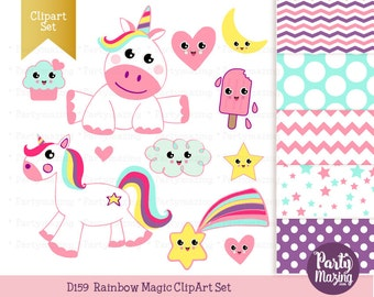 Kawaii Unicorn Clipart Set, Cute Nursery, Digital Paper Pack, Instant Download -D159