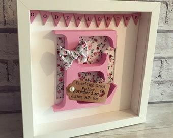 Personalised Wooden Letter Frame | Initial | Christening Gift | Communion Gift | Goddaughter | New Born Gift