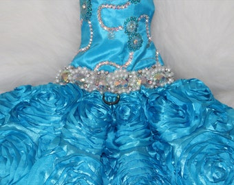 Aqua Blue Swarovski Bling Dress, Limited Edition Party Dress