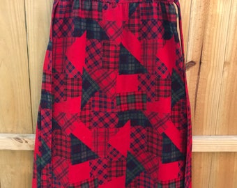 Vintage 70s Red Plaid Corduroy Maxi Skirt / Red Vintage 70s Red Wrap Skirt