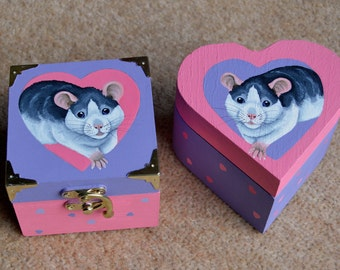 Husky Roan Rat Heart and Square Wooden Boxes