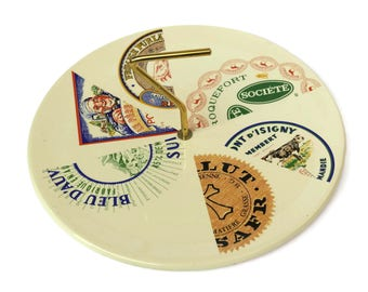 French Cheese Platter. Vintage St Amand Faience Snack Tray. Mid Century Ceramic Serving Plate with Advertising for Fromages de France.
