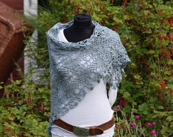 "Stole ""Stine"", triangular scarf, scarf, crochet lace, light blue, women, gift,"