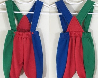30% Off Sale 80s 90s Baby Boy Red Green Blue Colorblock Sweatpant Knit Overalls, Size 0 to 3 months