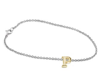 P Initial Charm Bracelet in Gold Over Silver