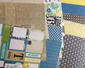 15 Sheets of Echo Park For The Record 2 12x12 Scrapbook Paper - Patterned & Solids