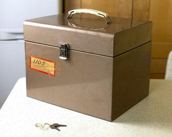 Vintage Metal File Box, Vintage Storage Box with Keys, Industrial Storage, Filing Box