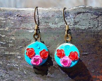 Red and Pink Flowers on Blue Polymer Earrings