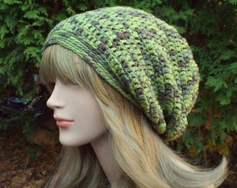 Merino Wool Hat, Green Slouchy Beanie, Slouchy Hat, Womens Crochet Hat, Oversized Slouch Beanie, Hipster Hat, Slouch Hat, Baggy Beanie