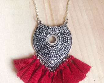 EVA - Ethnic silver necklace & tassels red Burgundy
