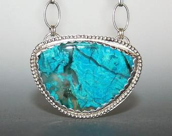 Gem Silica Chrysocolla Pendant Necklace, sterling silver, gem silica pendant, inspiration mine chrysocolla, stone, chrysocolla malachite